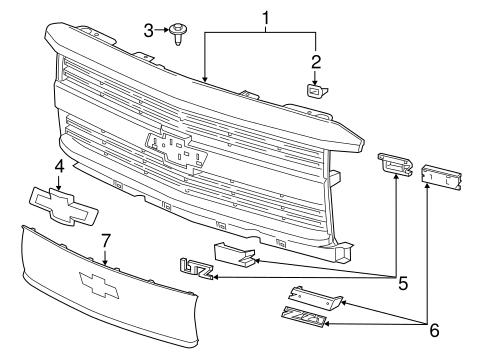 grille components for 2016 chevrolet silverado 2500 hd world oem parts gm. Black Bedroom Furniture Sets. Home Design Ideas
