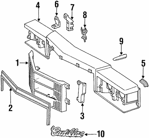 Grille & Components for 1990 Cadillac Brougham | GM Parts Club