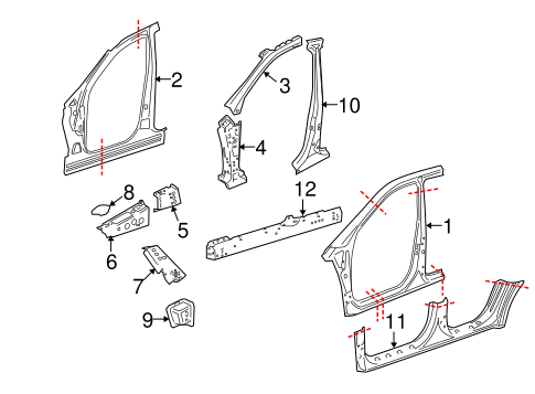 Center Pillar & Rocker for 2010 Mercedes-Benz ML 550 #0