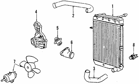 Radiator & Components for 1991 Volkswagen Corrado #1