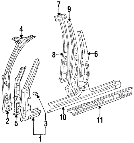 BODY/CENTER PILLAR & ROCKER for 1996 Toyota Corolla #1