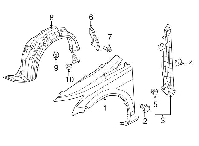 Honda Genuine 74291-TR3-A00 Fender Partition Pad