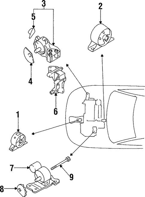 engine & trans mounting for 2000 mitsubishi mirage | auto parts  mitsubishi parts warehouse