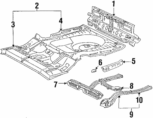 1987 1991 Toyota Camry Rear Side Rail 57602 32071 Genuine Toyota