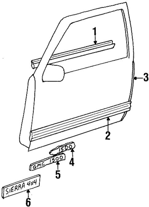Exterior Trim Front Door Parts For 1990 Gmc K1500 Pickup