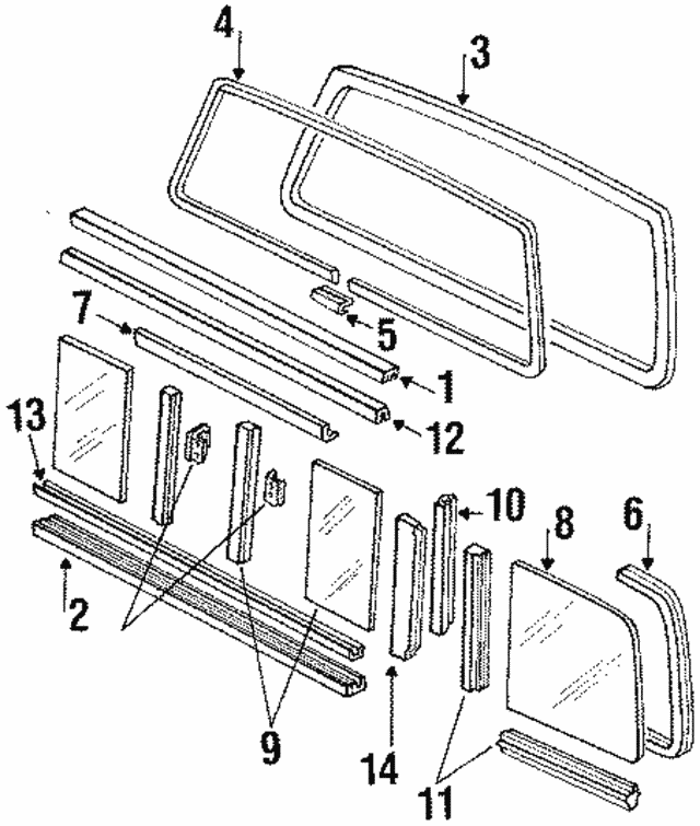 1987 1997 Ford Weatherstrip E3tz1042052c