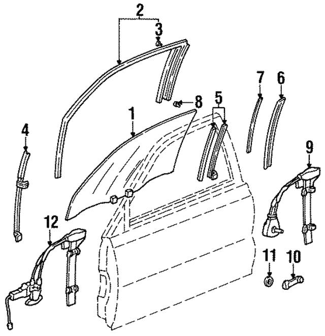 Genuine Honda 72210-SV4-A11 Power Window Regulator Assembly