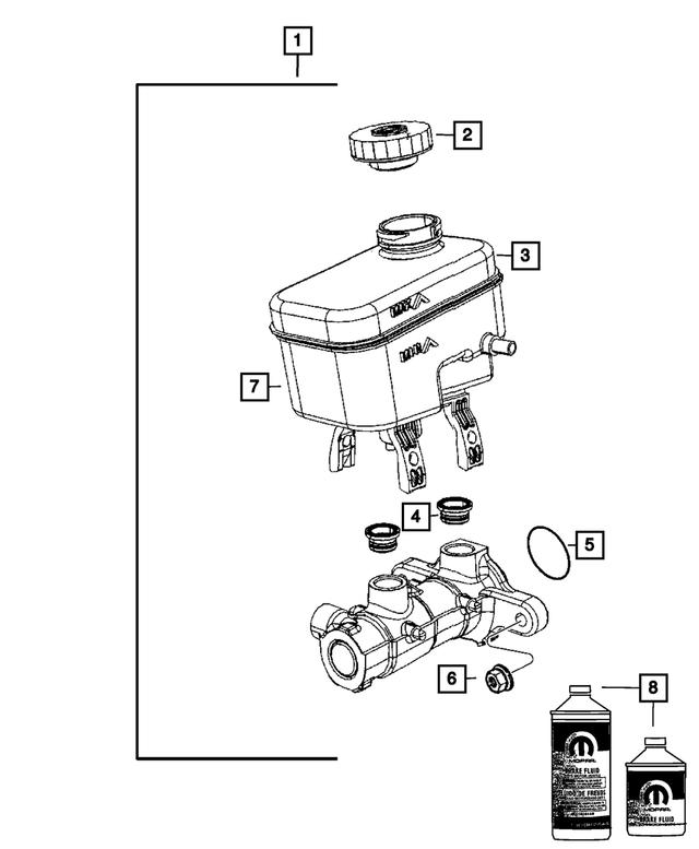 Brake Master Cylinder New for Jeep Wrangler JK 2018 68057474AA