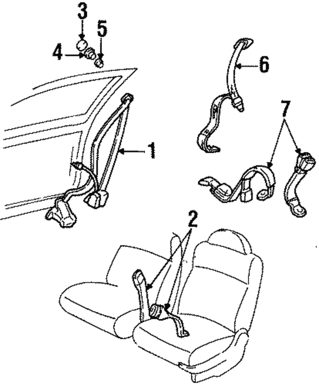 1997 Oldsmobile Cutlass Supreme Belt Retractor 12369683