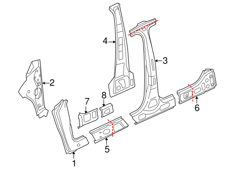 Center Pillar & Rocker for 2012 Volkswagen CC #0