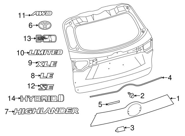 Genuine Toyota 76811-0E901 Luggage Compartment Door Garnish Sub Assembly