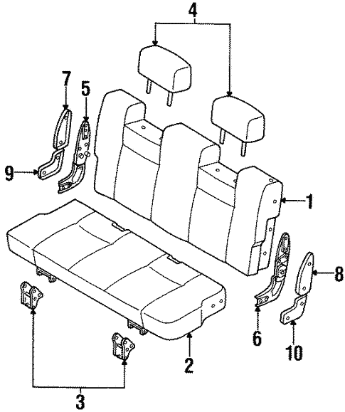 Rear Seat Components for 1995 Isuzu Trooper #0
