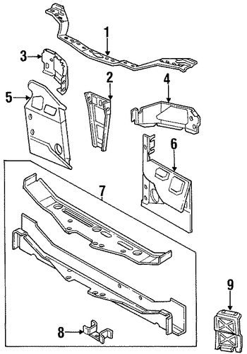 radiator support for 1998 dodge neon parts