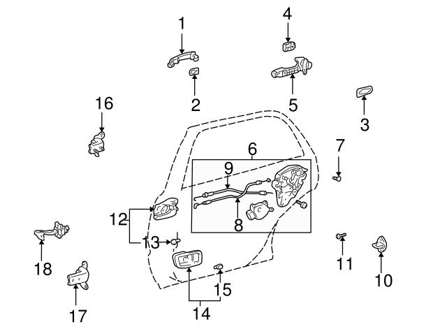 Toyota 68780-60031 Rear Door Hinge Assembly