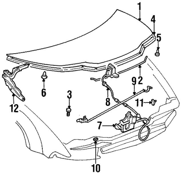1996 2000 Chrysler Sebring Hinge 4724321