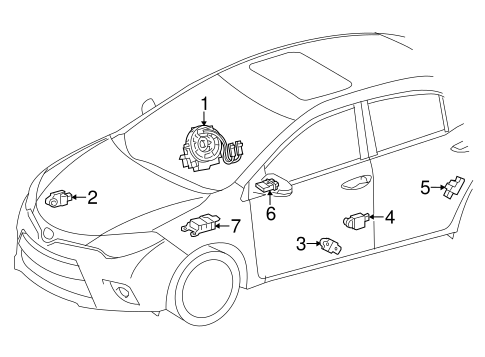 Air Bag Components For 2014 Toyota Corolla