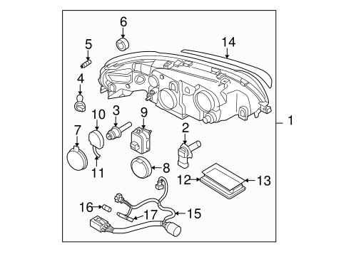 Headlamp Components For 2006 Volvo V70