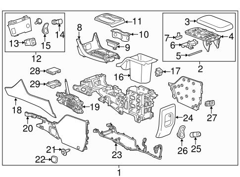 oem 2017 chevrolet colorado center console parts. Black Bedroom Furniture Sets. Home Design Ideas
