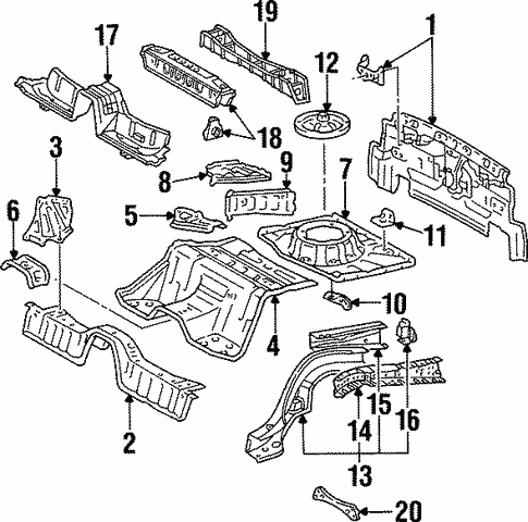 Genuine Oem Rear Floor Rails Parts For 1998 Toyota Supra Twin