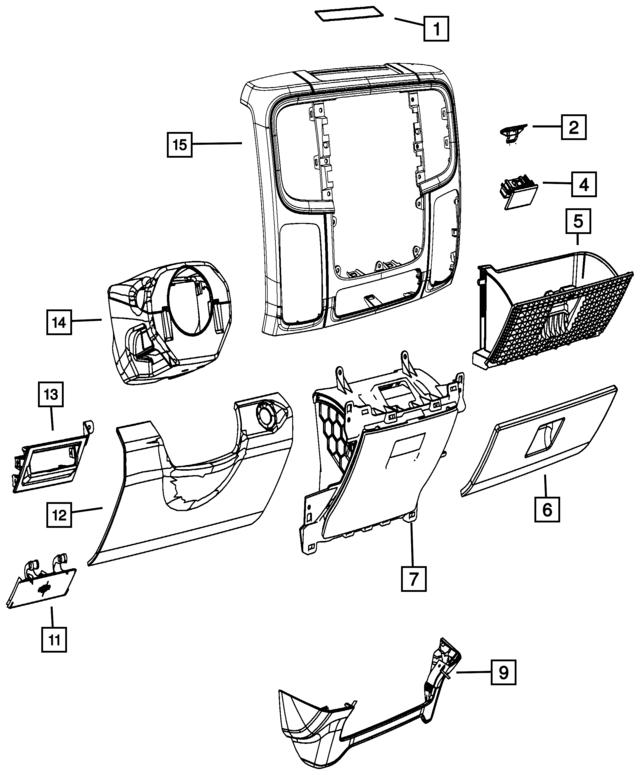 2018 Ram Steering Column Shroud 1ge44tx7ac