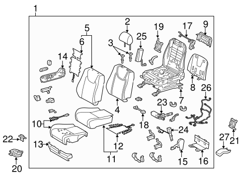 Front Seat Components For 2010 Lexus Rx350