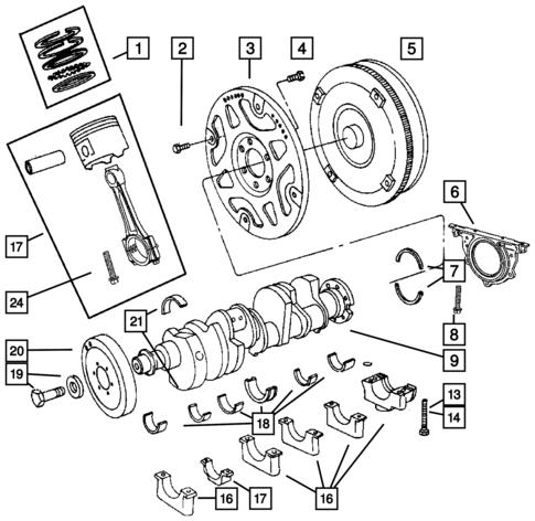 Crankshaft Pistons And Torque Converter For 2006 Dodge Durango