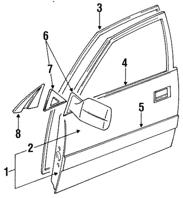 1991 1994 Toyota Land Cruiser Door Shell 67001 60351