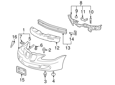 bumper & components - front for 2008 pontiac grand prix ... 1999 pontiac grand prix engine diagram 2008 pontiac grand prix engine diagram