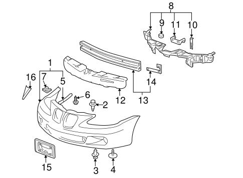 bumper & components - front for 2007 pontiac grand prix   gm parts online  gm parts online