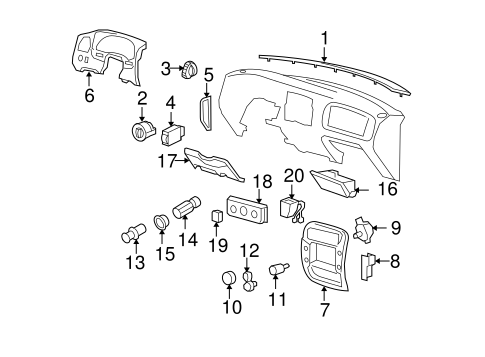 Instrument Panel Components for 2000 Ford Ranger #0