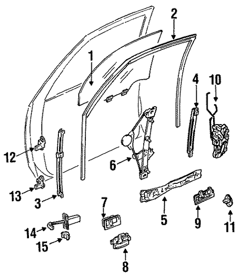 BODY/GLASS - FRONT DOOR for 1996 Toyota Camry #1
