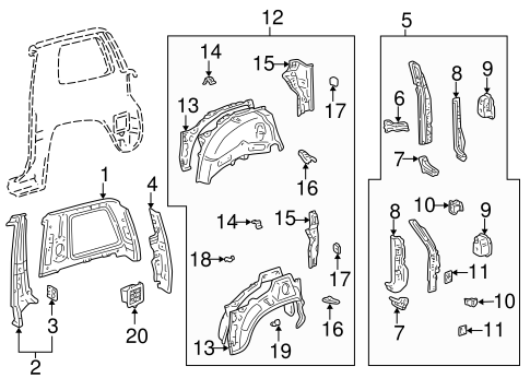 BODY/INNER STRUCTURE for 1996 Toyota RAV4 #1