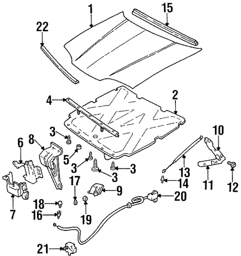 oem 1999 chevrolet lumina hood  u0026 components parts