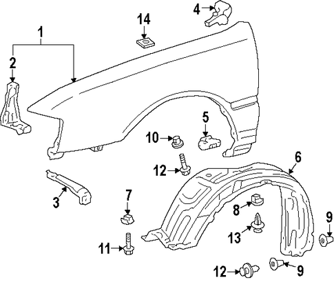 BODY/FENDER & COMPONENTS for 1996 Toyota Avalon #1