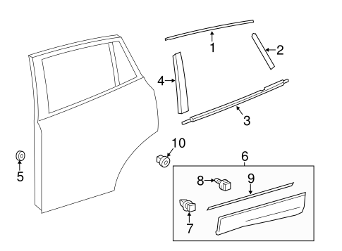 Exterior Trim - Rear Door for 2018 Toyota RAV4 #0