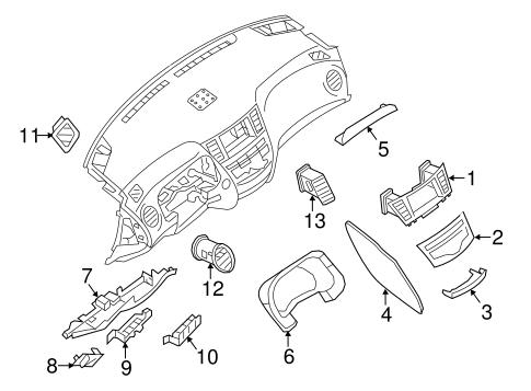 Instrument Panel Components For 2013 Infiniti Jx35