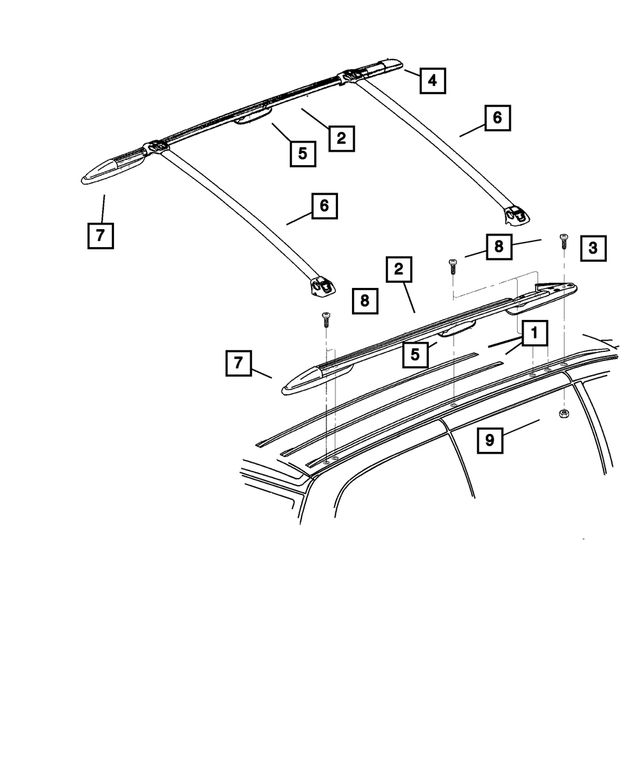 Luggage Rack Side Rail, Left, Side Rail - Mopar (4857259AF)