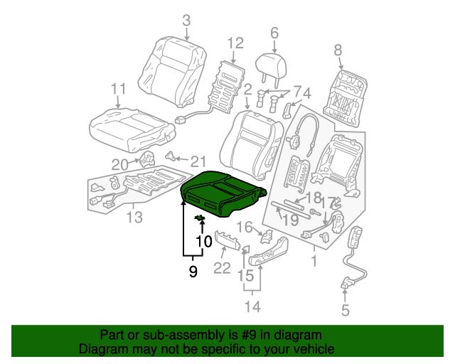 Lapis Honda Genuine 81531-S84-A24ZA Seat Cushion Trim Cover Left Front
