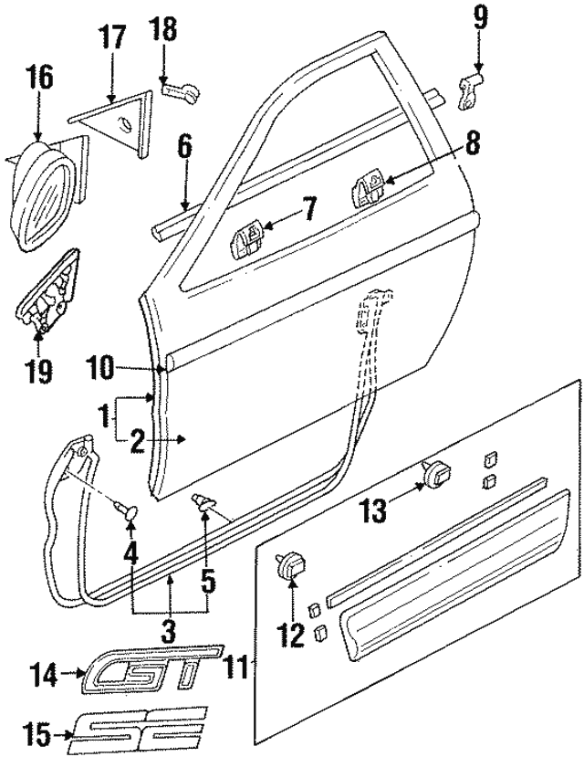 Lower Weather-Strip Retainer - Ford (F42Z6120586A)