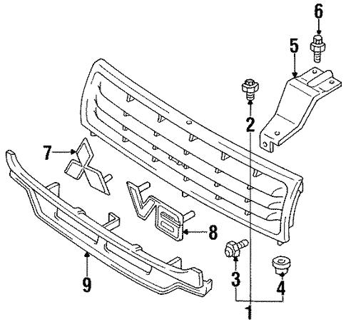 Grille Components For 1992 Mitsubishi Montero