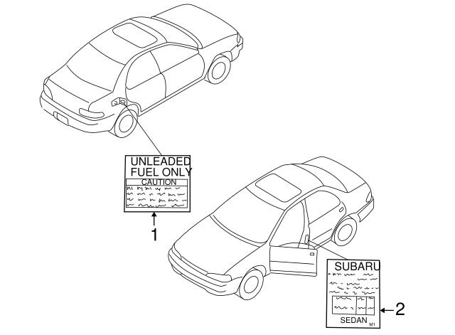 1998 2001 Subaru Impreza Tire Info Label 28191fa370