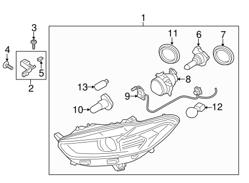Headlamp Components For 2014 Ford Fusion