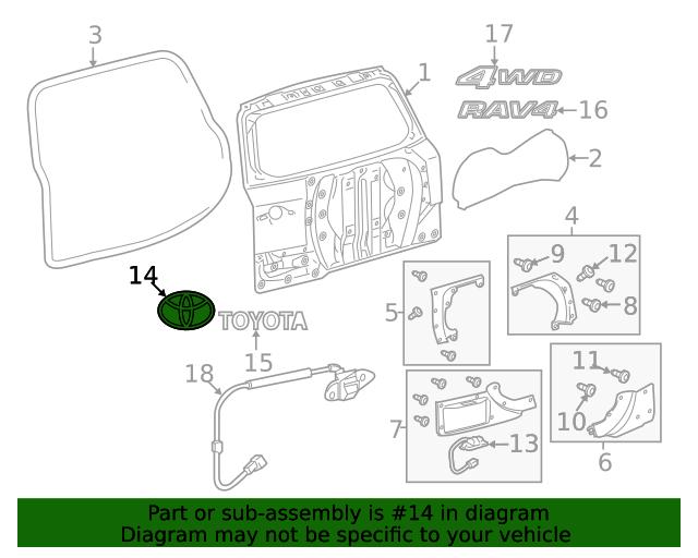 Toyota 75430-42010 Door Emblem Assembly