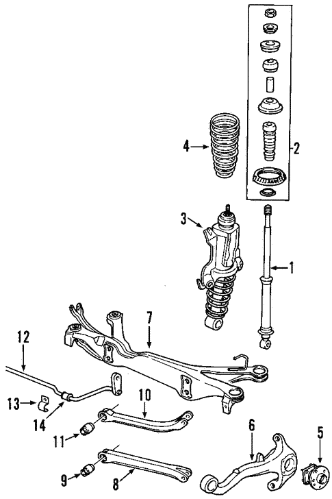 oem 2002 saturn l200 rear suspension parts