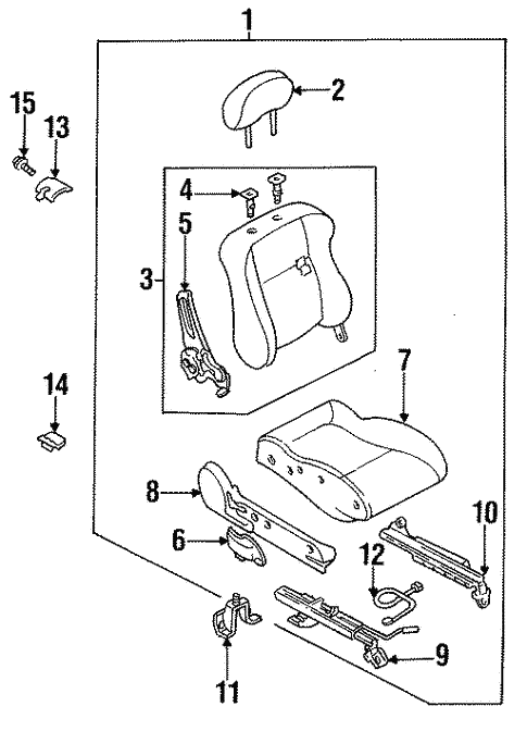 Seat Components for 1997 Mazda Protege #0