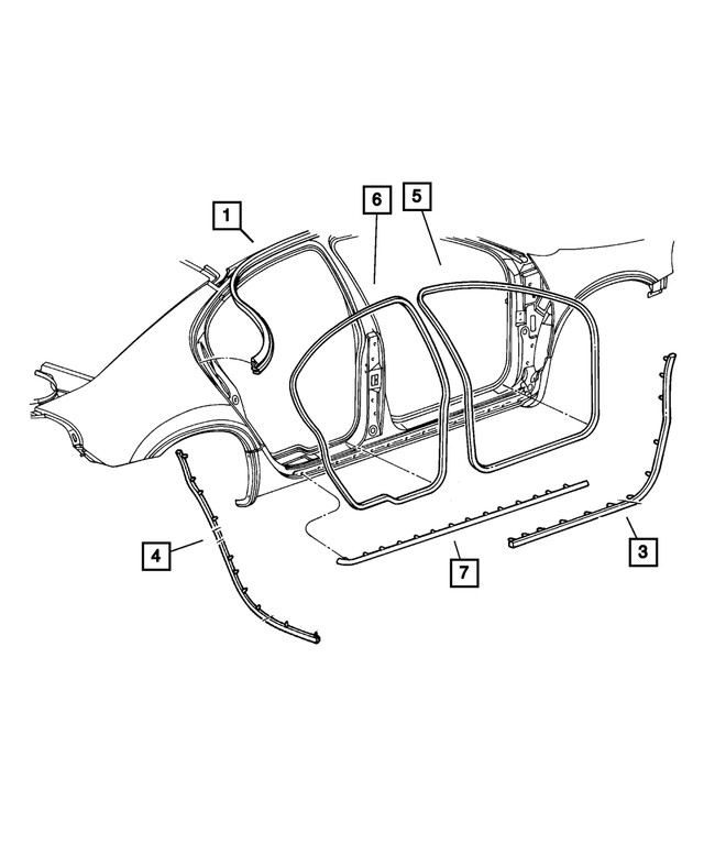 Rear Door Weatherstrip, Right - Mopar (TE68WL5AH)
