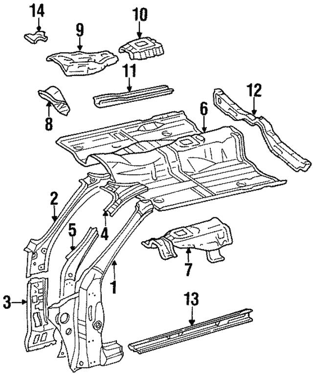 1994 1999 Toyota Celica Inner Hinge Pillar 61162 20210