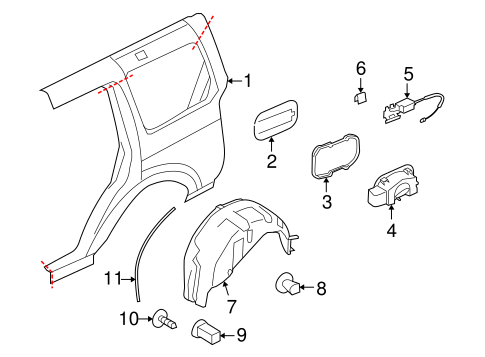 Quarter Panel Components For 2005 Land Rover Lr3
