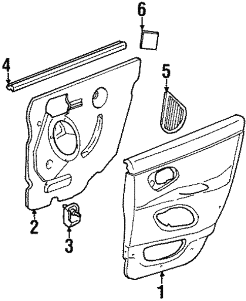 Interior Trim - Rear Door for 1996 Ford Contour #0