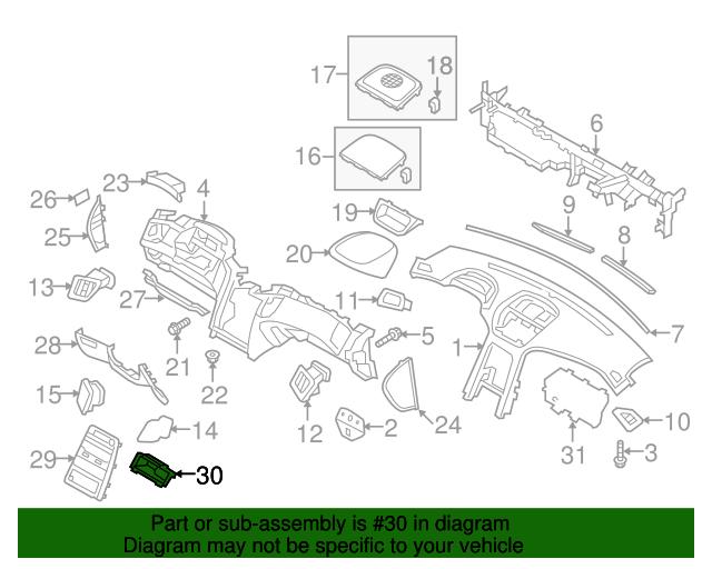 Genuine Hyundai 84742-2M100-9P Center Fascia Tray Assembly Lower